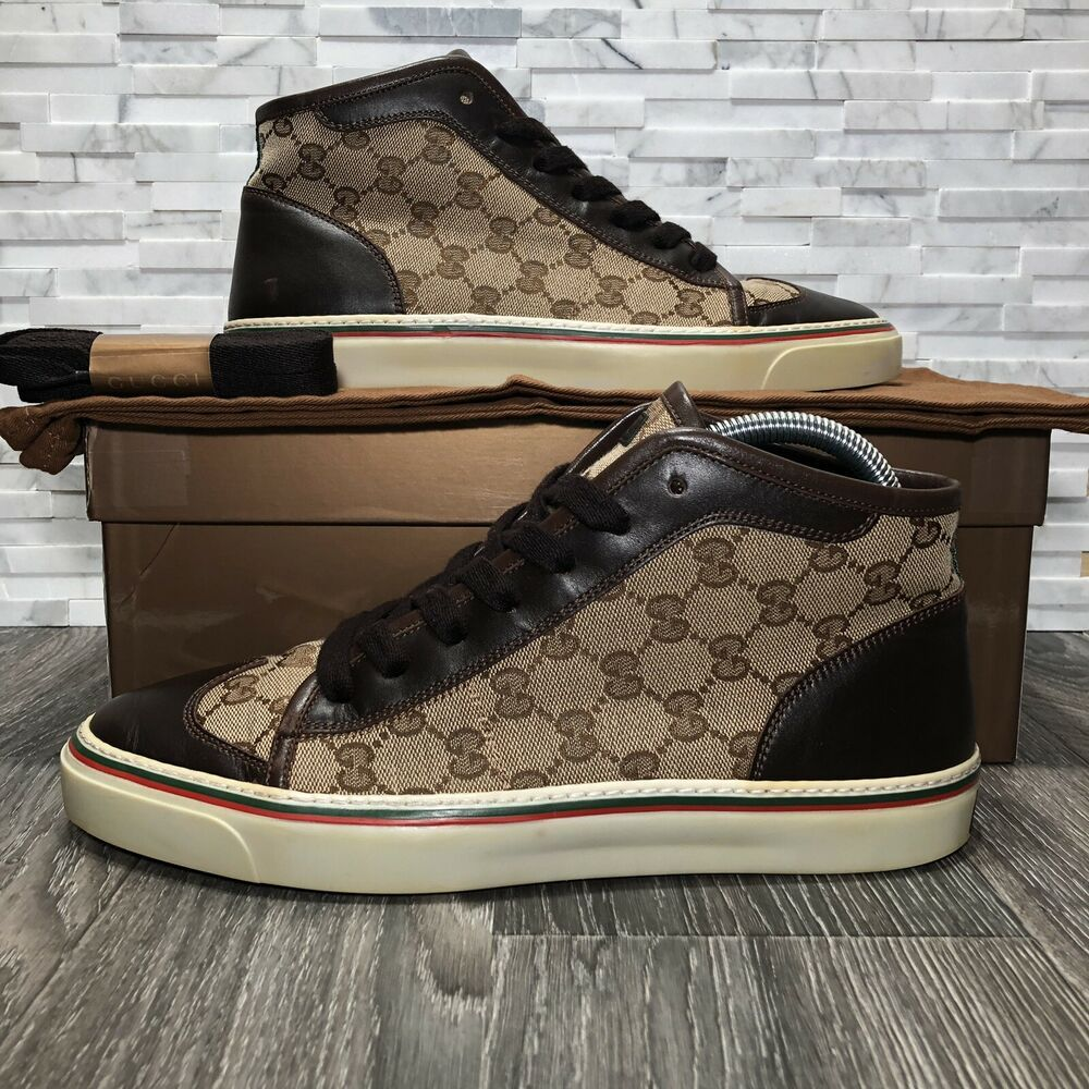 55b669e2b eBay #Sponsored Gucci Monogram Supreme Beige & Brown Canvas & Leather High  Top Sneaker (163236)