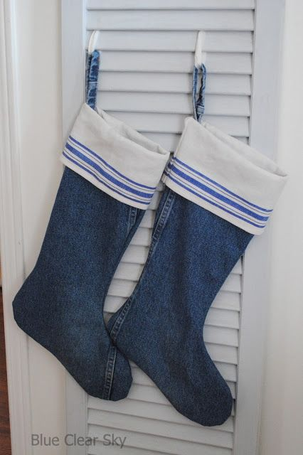 blue jean christmas stocking pattern   ... past Christmas I made a pair of denim and linen Christmas stockings