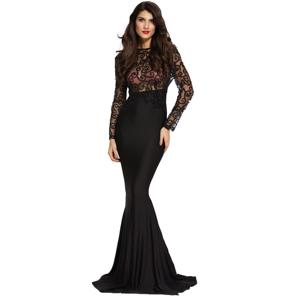 8179a8756031 Find More Information about Elegant Sexy Paillette See Through Dress  Bodycon Mermaid Maxi Long Dress Evening Party Gown Robe Trumpet Dress  Vestidos