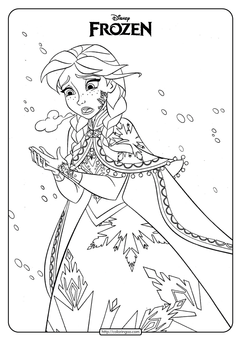 Disney Frozen Anna Coloring Pages Book in 2020 Coloring