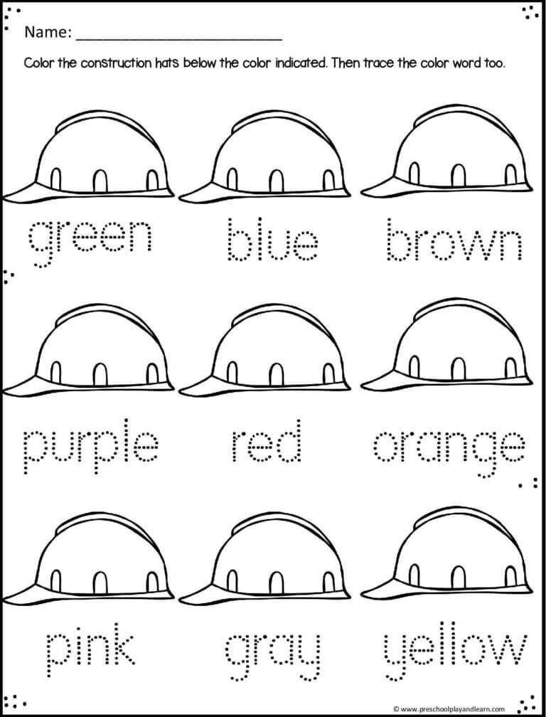 Construction Math Worksheets Free Construction Worksheets In 2020 Color Worksheets Preschool Colors Shapes Worksheet Kindergarten