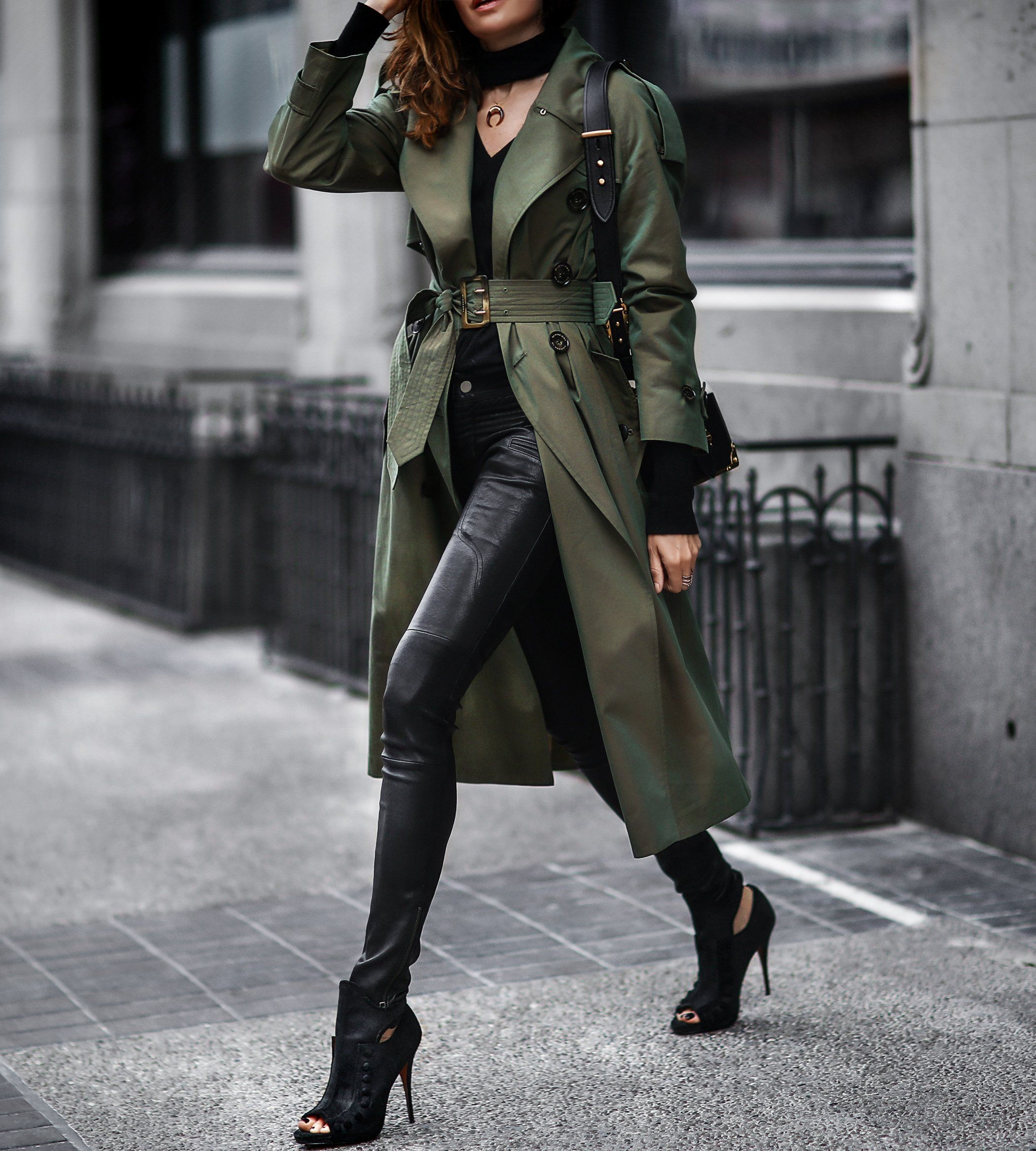 burberry trench coat, black leather pants Rocker chic