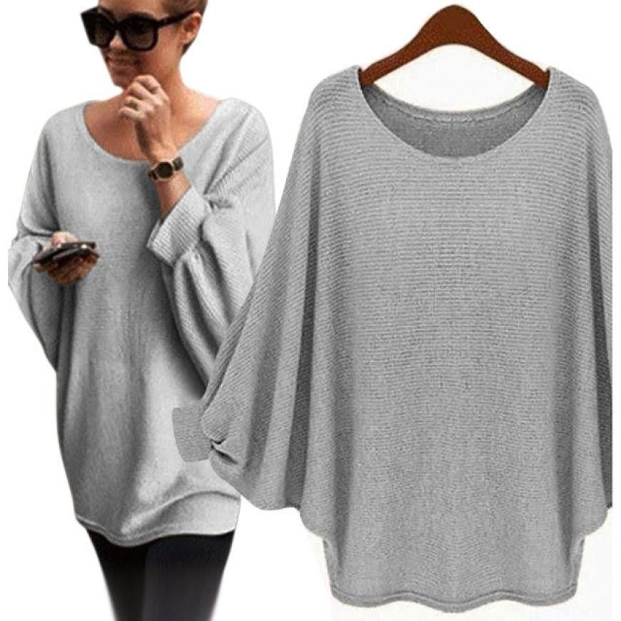 UK Womens Oversized Jumper Batwing Pullover Top Winter Sweatshirt Ladies 6-14
