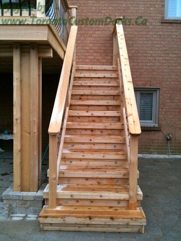 Best Stairs Made Of Cedar Wood Deck Design Custom Deck 400 x 300
