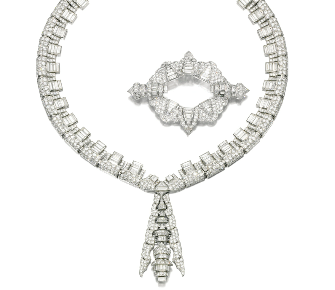 DIAMOND NECKLACE, JANESICH, AND BROOCH, 1930S.   The necklace composed of a series of geometric links suspending an articulated pendant of similar design, set with circular-, single-cut, triangular-shaped and baguette diamonds, length approximately 420mm, separates in three places, pendant detachable, signed Janesich, French assay marks; together with a brooch of similar design, French assay marks. Enlarge: http://assets7.pinimg.com/upload/137641332333946138_UKRm8bsp.jpg