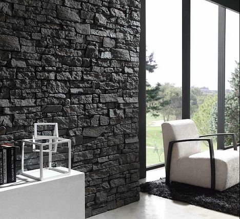 black stone walll with white modern furniture so elegant diy with our black rumble stone claddingwall claddinginterior - Interior Stone Wall Designs