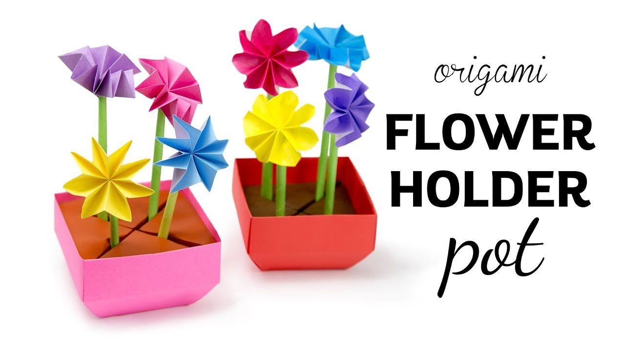 Origami flower pot stem holder flowers paper kawaii origami flower pot stem holder flowers paper kawaii mightylinksfo