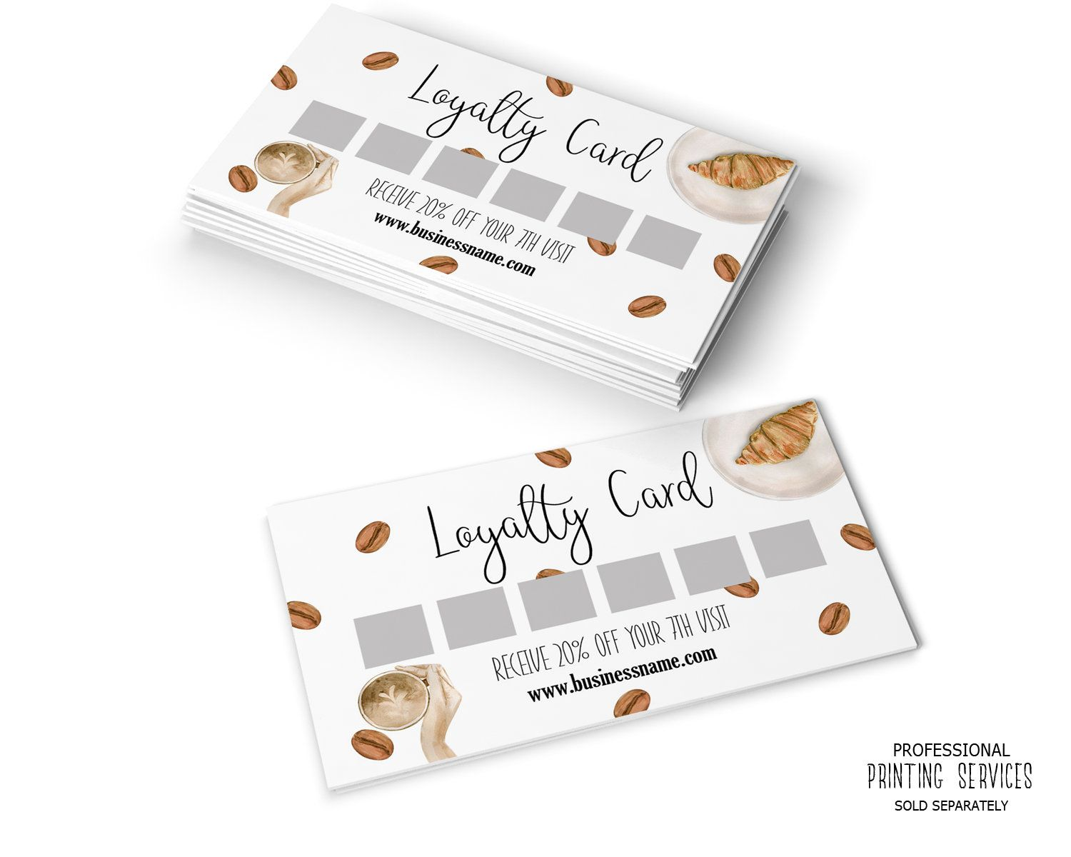 Coffee Shop Or Bakery Loyalty Card Reward Card Template Personalized Digital Reward Punch Card 2x3 5 Bakery Business Cards Loyalty Card Coffee Loyalty Card