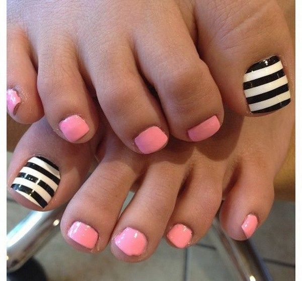 Baby Pink Black And White Striped Pedicure Ilusion Pinterest