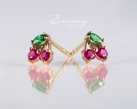 Please Specify The Desired Metal Color Yellow White Rose Gold In Notes At Check Out Price Includes Two Ruby And Emerald Earrings