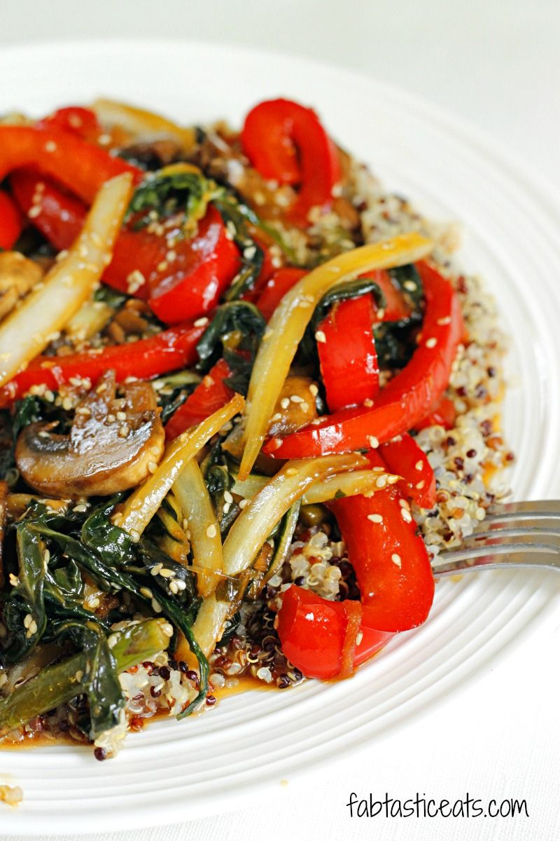Quinoa and Bok Choy Veggie Stir Fry | Fabtastic Eats -- swap vegetable oil for an approved oil, use liquid or coconut aminos instead of soy sauce, raw honey (or another sweetener to make this vegan), freshly squeezed lime juice, and no cornstarch. Thicken with a little flour.