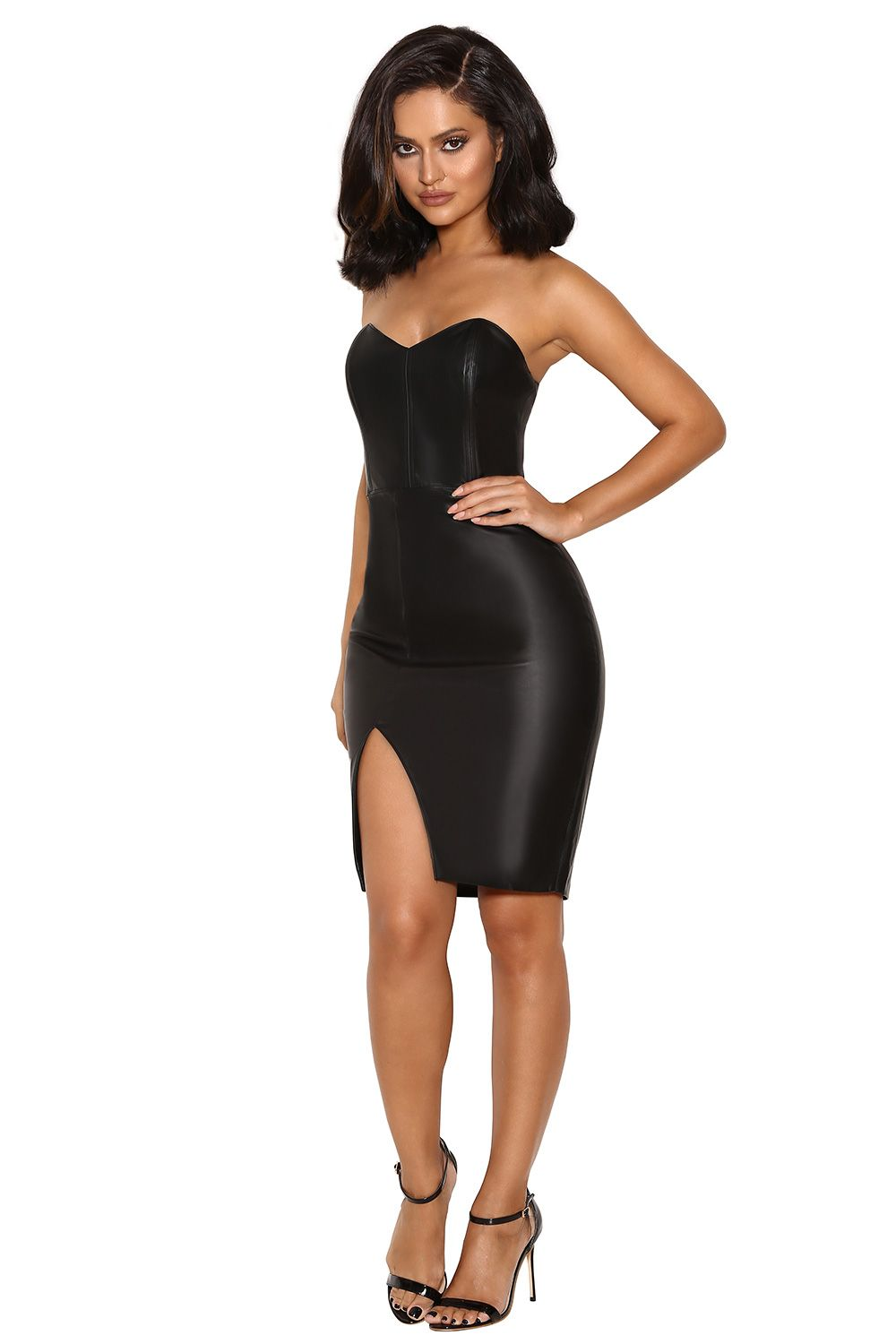 Clothing   Bodycon Dresses    Enrica  Black Vegan Leather Strapless Dress 69315d385