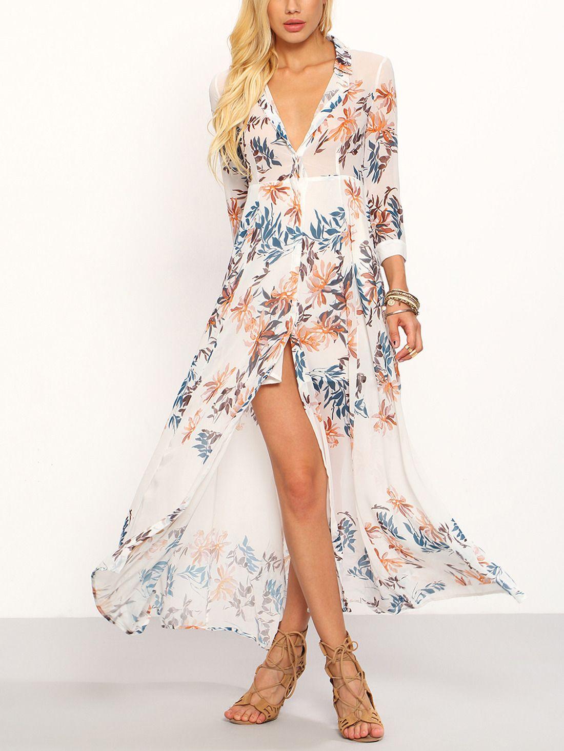898c2c19b24 Flower Print Chiffon Long Shirt Dress - White -SheIn(Sheinside ...