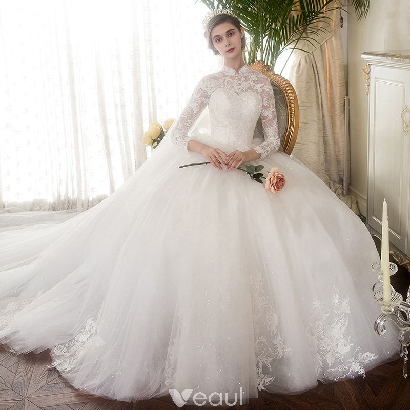 Chinese style Ivory Pierced Wedding Dresses 2019 Ball Gown High Neck Long  Sleeve Appliques Lace Glitter Tulle Cathedral Train Ruffle fa639b0f9feb