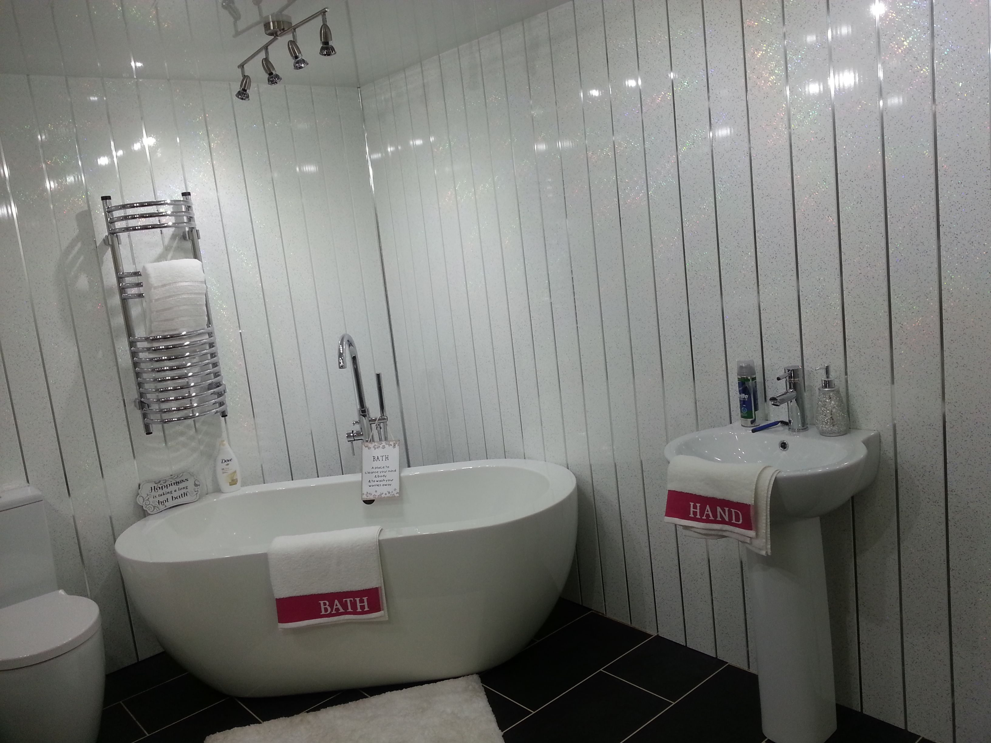 This Is Our White Sparkle Chrome PVC Wall Panels Which Has Small - White sparkle bathroom cladding
