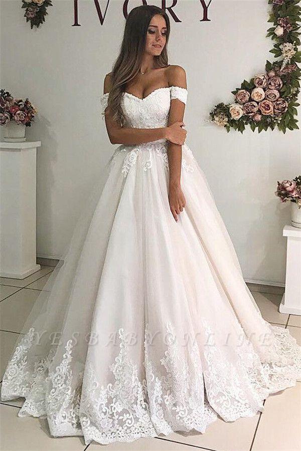 Alluring Off-The-Shoulder Appliques Tulle A-Line Wedding Dresses