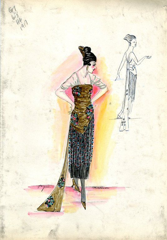 Evening dress sketch | House of Paquin | 1917 | Henri Bendel Fashion & Costume Sketch Collection | Brooklyn Museum | Call #: SC01.1 BENDEL