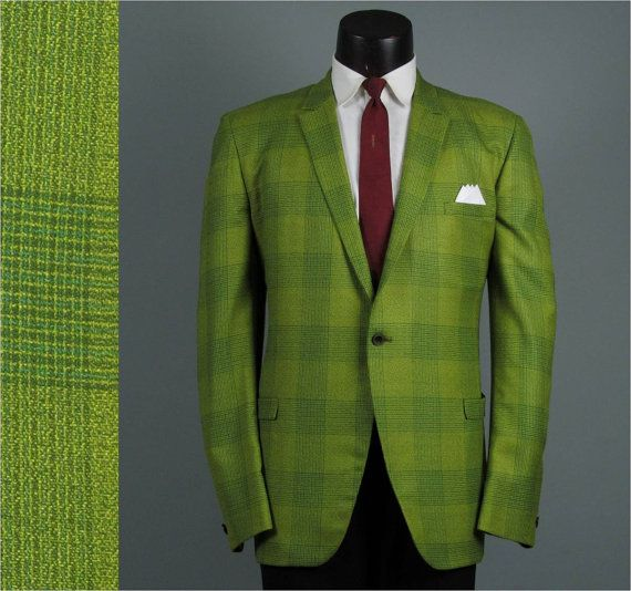 Vintage Mens Sport Coat 1960s HOLIDAY PLAID Skinny Lapel Mens ...