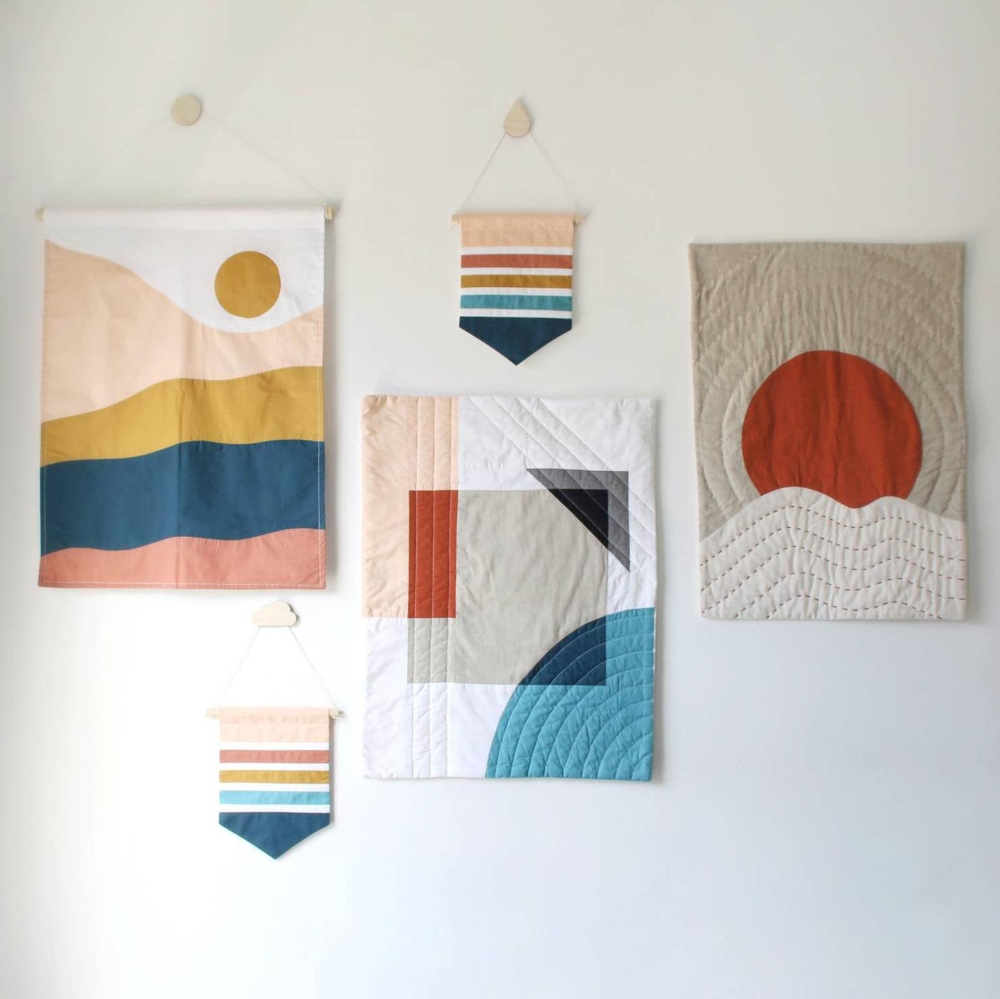 Wall Hanging Tapestry Mid Century Modern Geometric Art Etsy Quilted Wall Hangings Modern Baby Quilt Wall Quilts