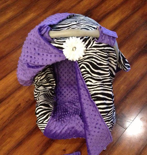 Zebra And Purple Minky Car Seat Canopy By CoverMeInLove 8500