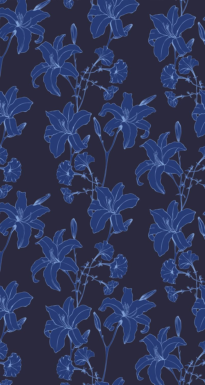 Dark floral background. Lilies and petunia flowers in a blue seamless vector pattern