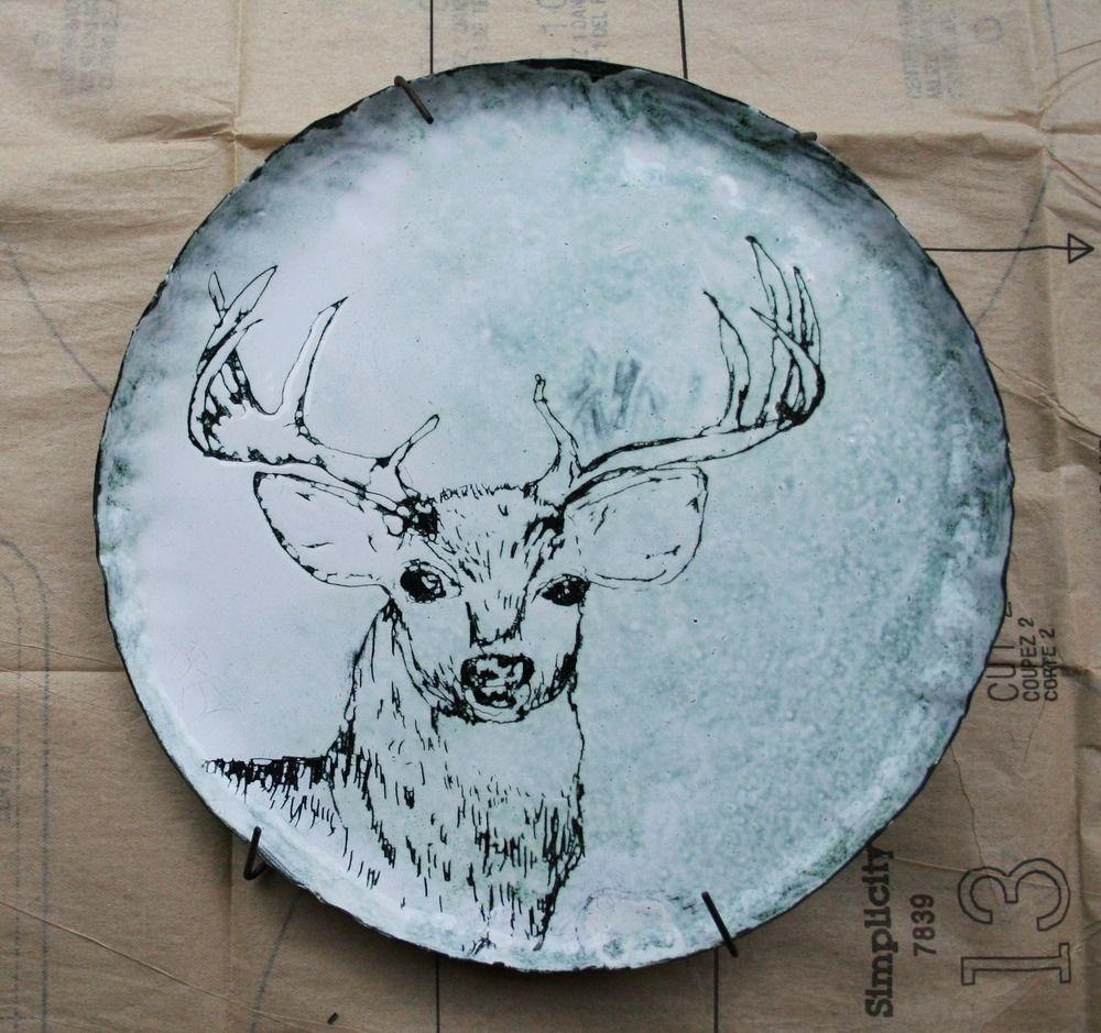 Enamel Deer Plate by J & B | Oh deer! | Pinterest