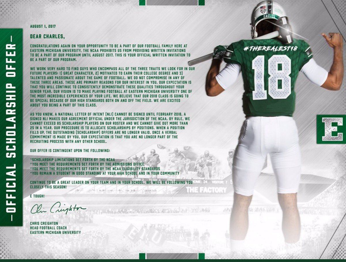August 2017 offer letters football recruiting college