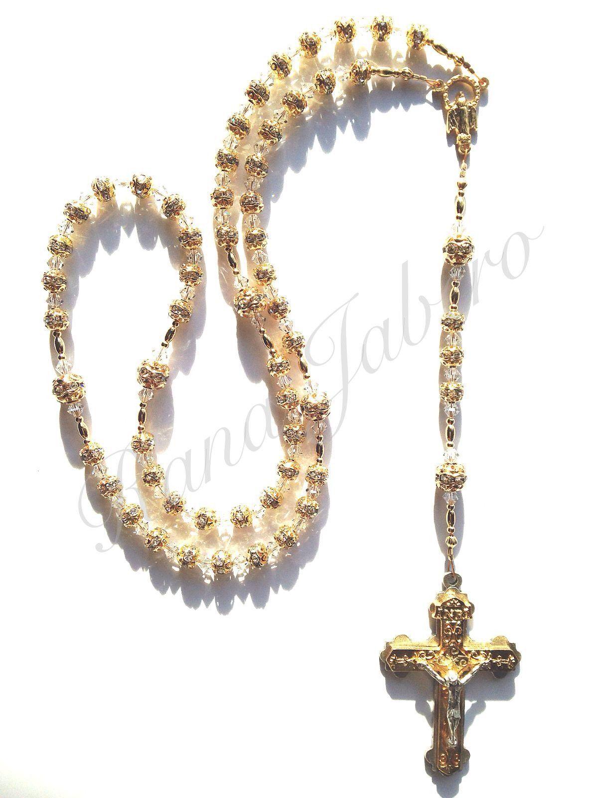 Sparkling Rhinestone Gold Rosary w/Swarovski Crystals