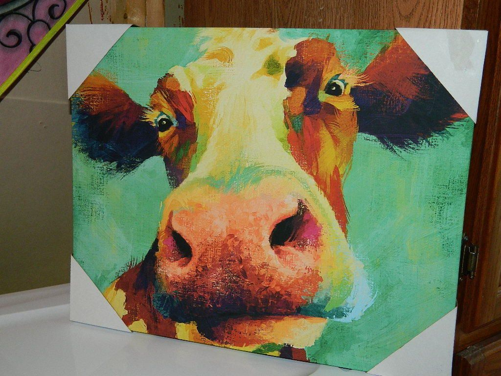 Dollar General Smiling Cow Canvas Painting Picture Print Dg Cnn