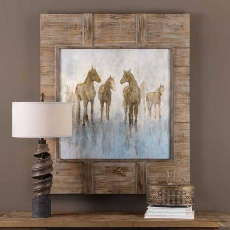 Uttermost rustic horse print in recycled wood frame wall decor