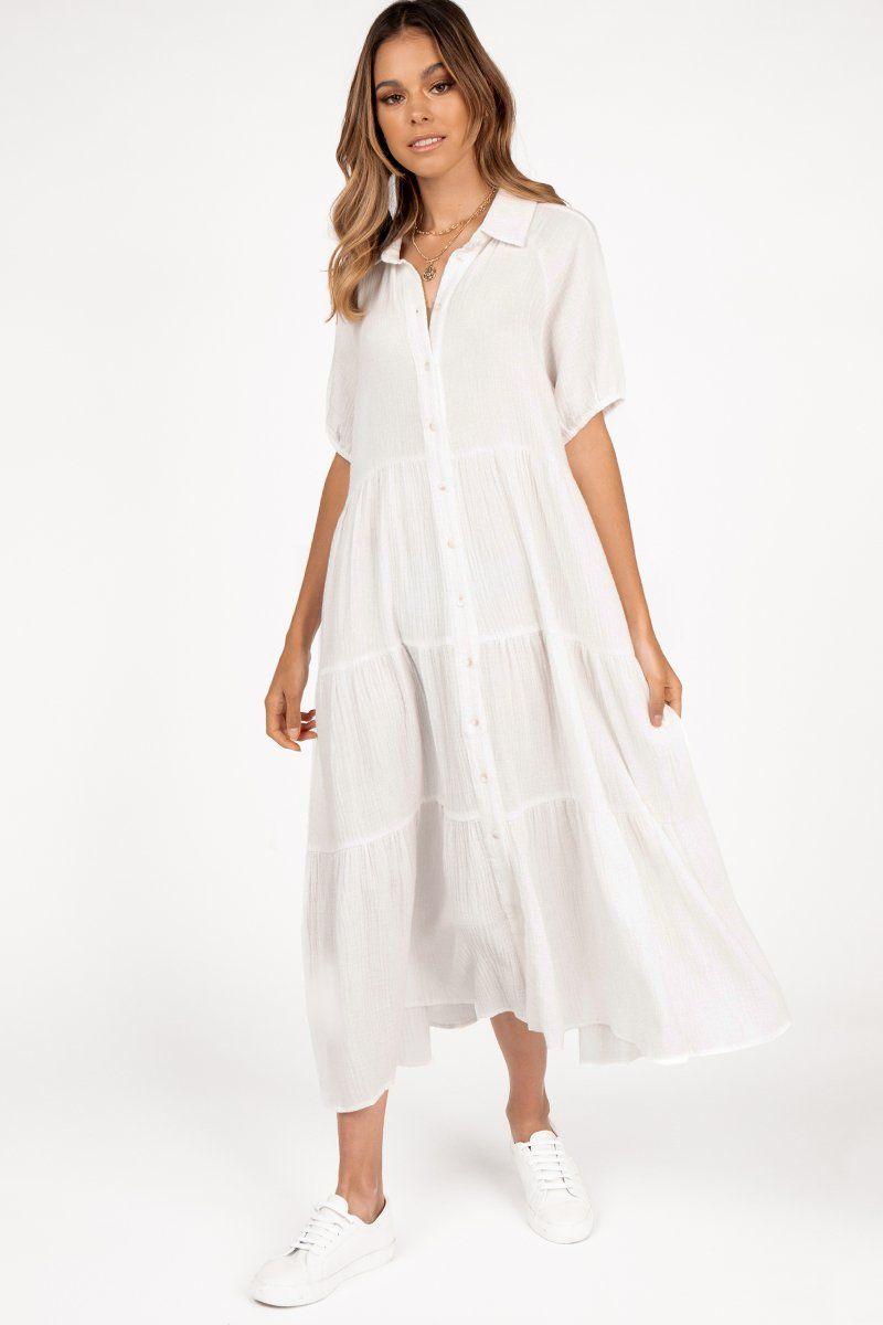 Bailey White Tier Midi Dress Dissh Tiered Midi Dress Dresses Midi Dress Outfit [ 1200 x 800 Pixel ]