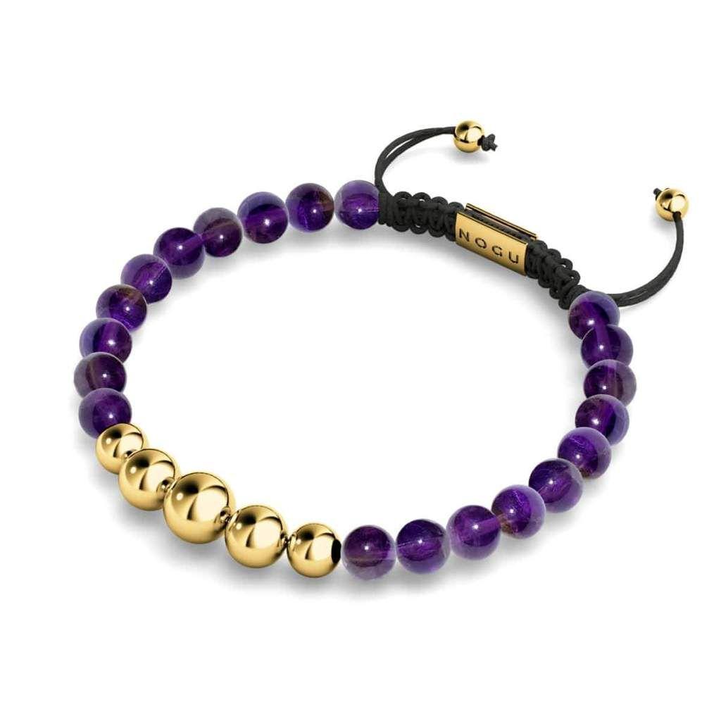 Amethyst Gold Balance Gemstone Macrame Bracelet