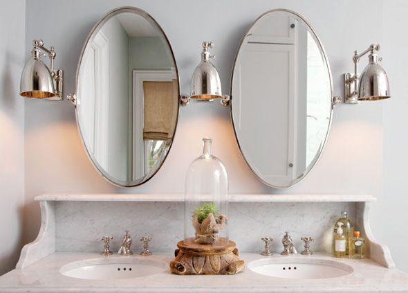 Oval Pivot Mirrors Transitional Bathroom Capital Style