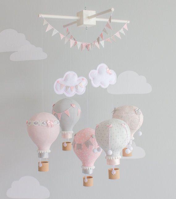 Hot Air Balloon Baby Mobile Rosa und grau von ...