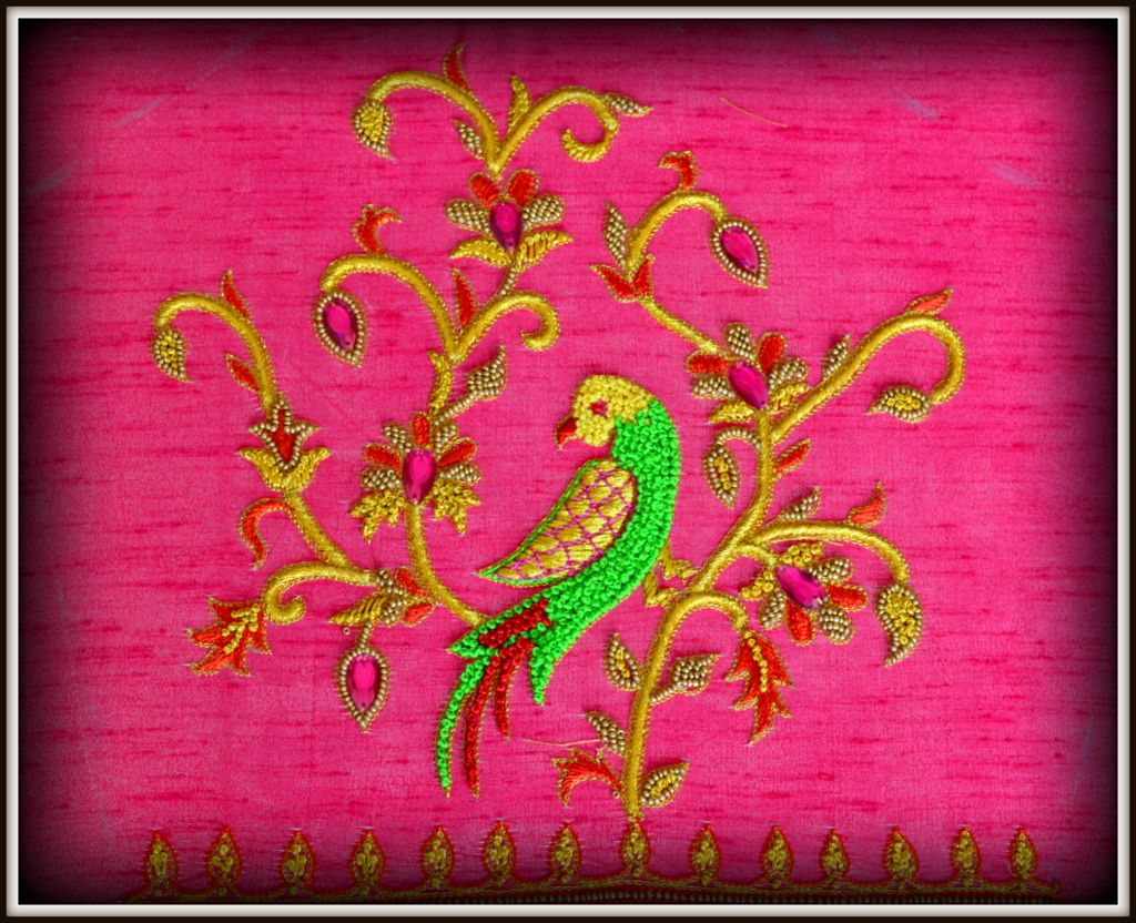 28359dd6964e50 Hand Embroidery parrot designs by Angalakruthi  Parrot hand embroidery  design on blouse