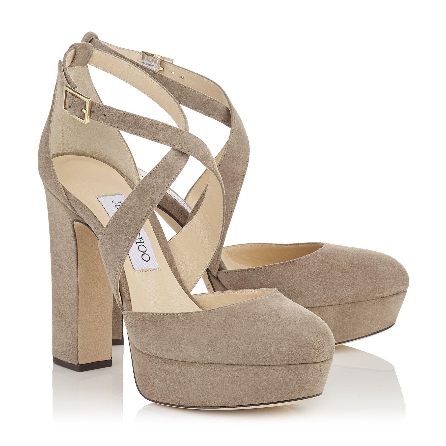 Lowest Prices April Platform Sandal Women Womens Light Mocha Suede Jimmy Choo Womens Designer Shoes