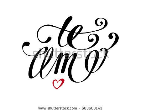 Te Amo love you Spanish text calligraphy vector lettering