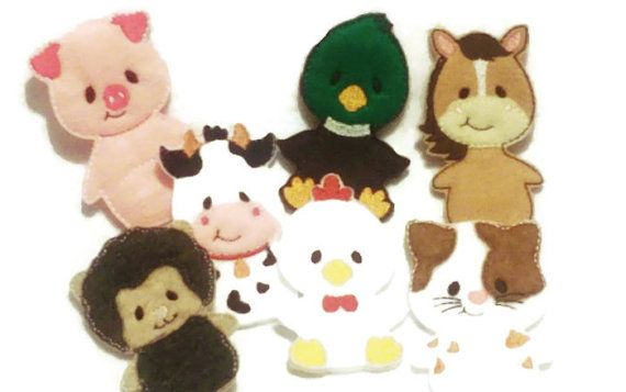 Quiet book page - Barn and finger puppet animal 7 finger puppets ...