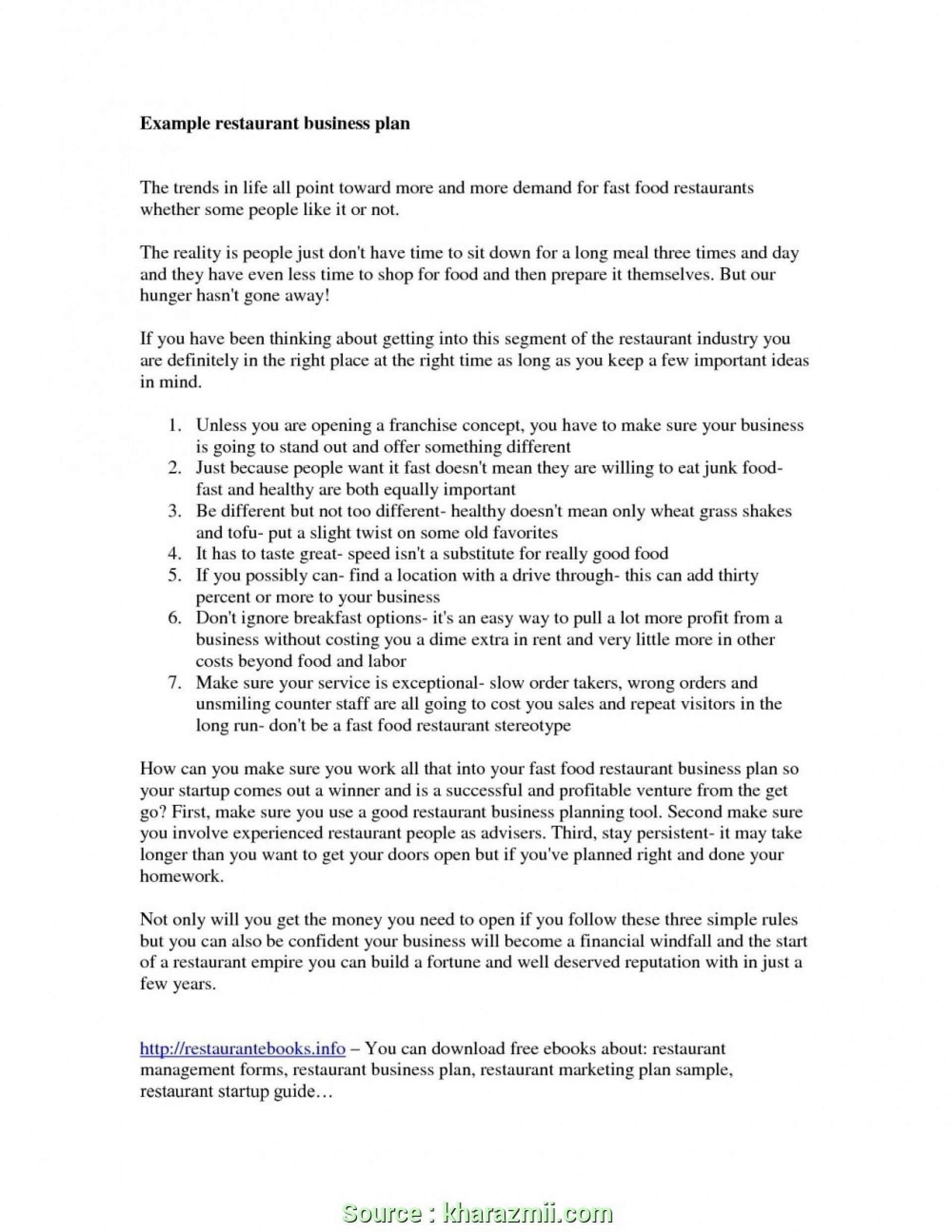25 Food Business Plan Template