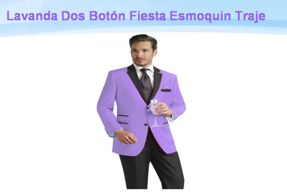SKU*VXZ99 Lavanda Negro Solapa Dos Botón Muesca Fiesta Traje ...
