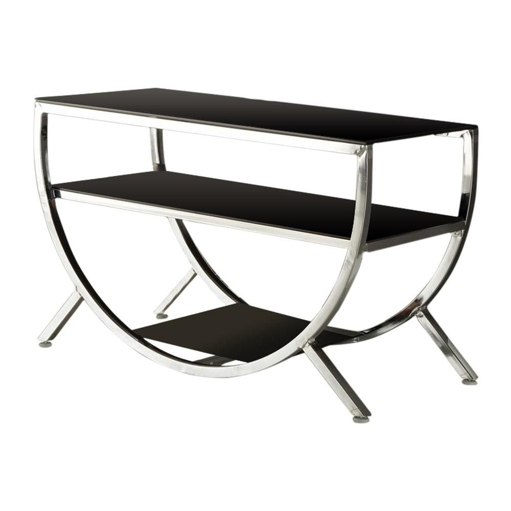 Kings Brand Furniture Chrome And Black Glass Modern Tv Stand 010e The Home Depot In 2021 Modern Tv Stand Floating Glass Shelves Glass Wall Shelves