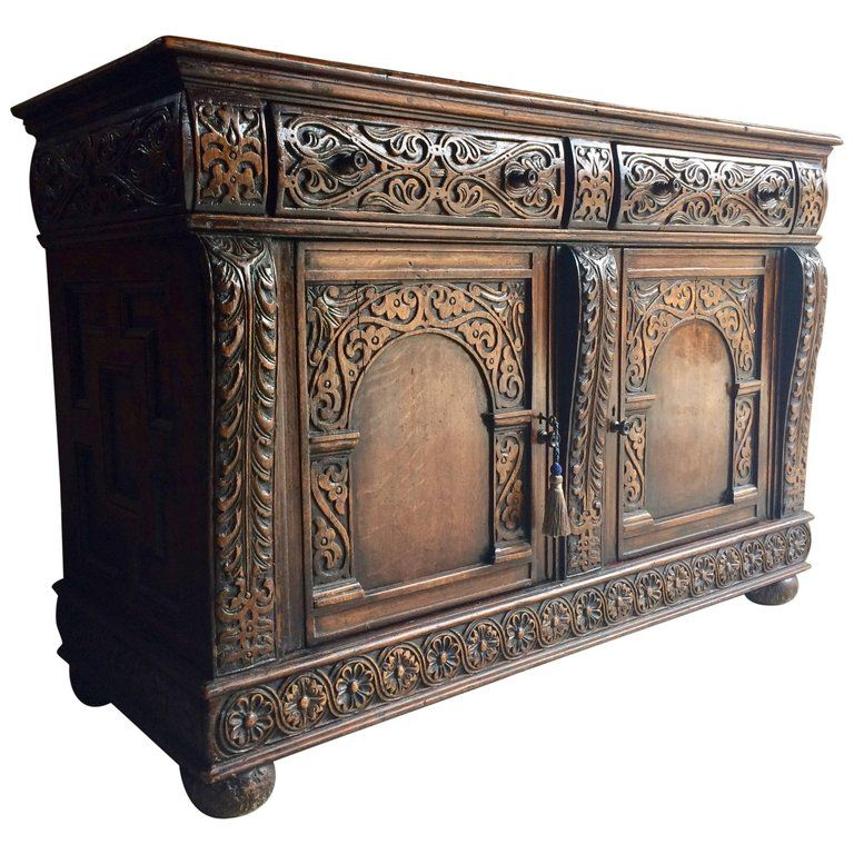 Antique Sideboard Buffet Credenza Solid Oak Heavily Carved Gothic