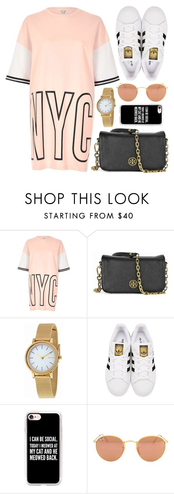 """""""NYC"""" by monmondefou ❤ liked on Polyvore featuring River Island, Tory Burch, Skagen, adidas Originals, Casetify and Ray-Ban"""