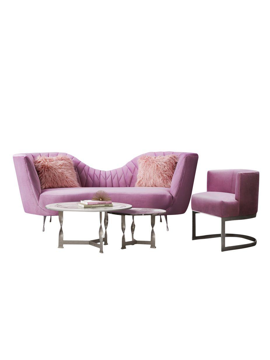 Tov Furniture Eva Blush Stainless Steel Sofa Set Fashion Home