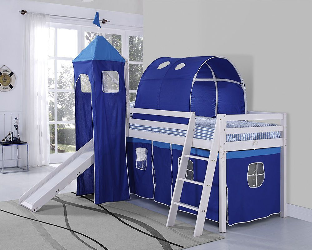 Kids Bunk Bed Blue Tent Mid Sleeper With SLIDE And Ladder White Wooden Cabin Bed