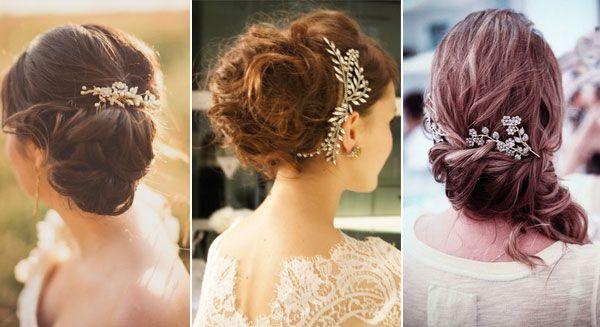 Recogidos de novia con broche #boda #peinados Peinados Pinterest