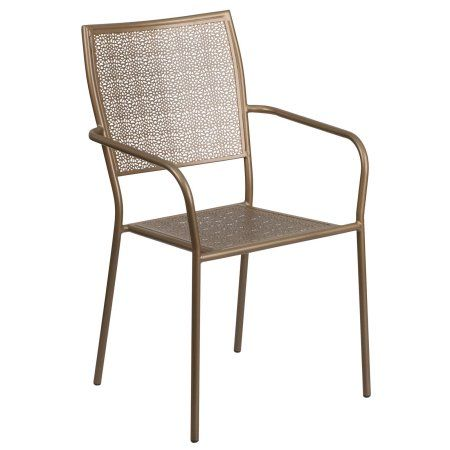 flash furniture square back patio dining chair gold products rh pinterest com au