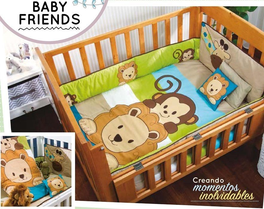 Baby Boys Animal Friends 6 Piece Nursery Crib Bedding Set By Vianney Conjuntos De Berco Berco Bebe Decoracao Bebe