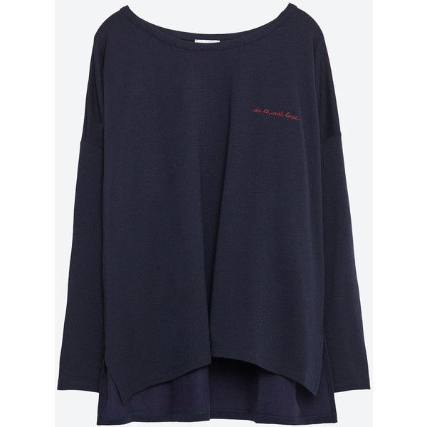 Zara T-Shirt With Embroidered Text (260 NOK) ❤ liked on Polyvore featuring tops, t-shirts, navy blue, zara top, navy blue tops, navy tee, embroidered t shirts and navy top