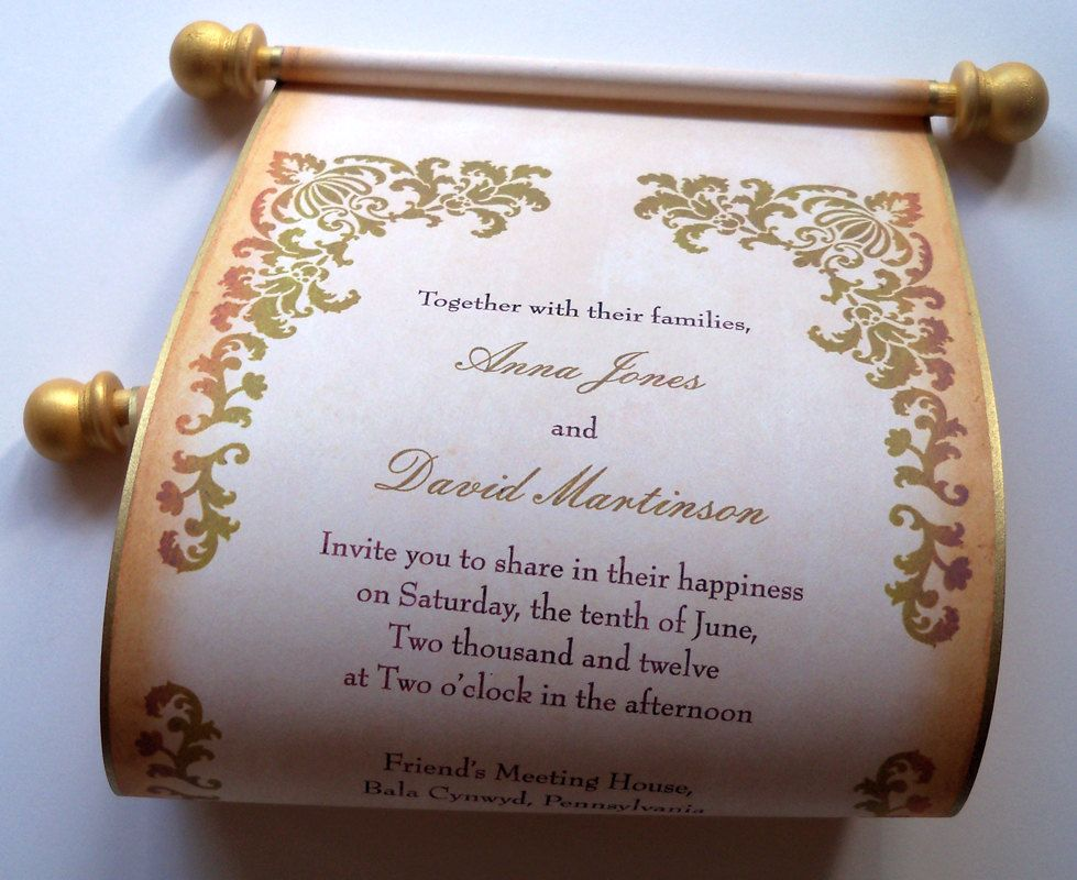 Wedding invitation scroll on aged damask paper for the rustic